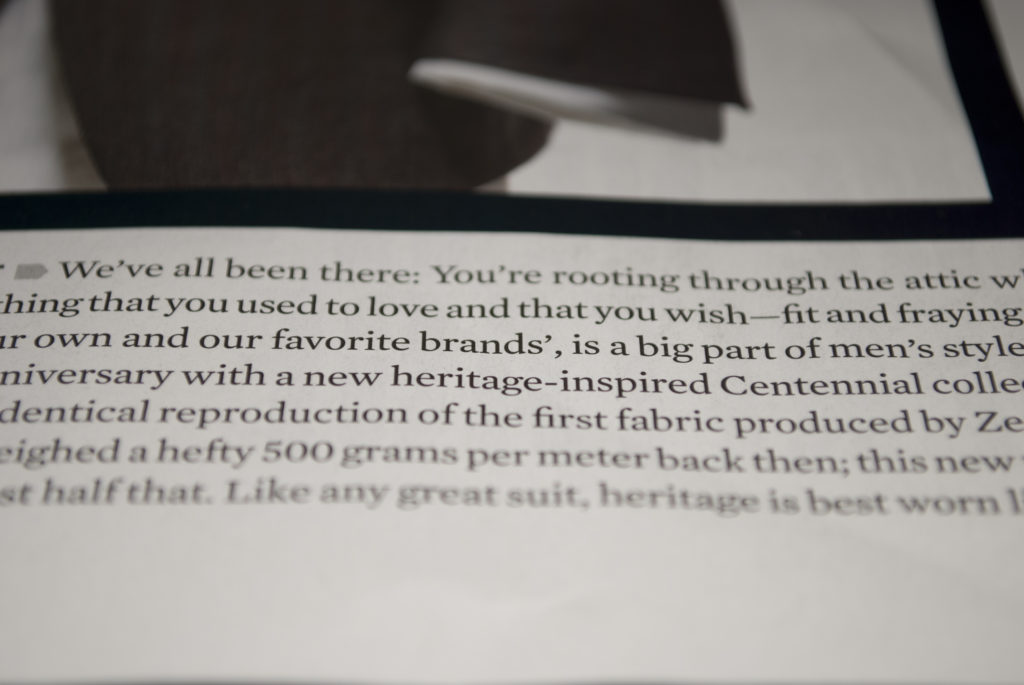 "A section of text from a magazine focused on ""brands',"" to highlight the use of a plural possessive followed by a comma."