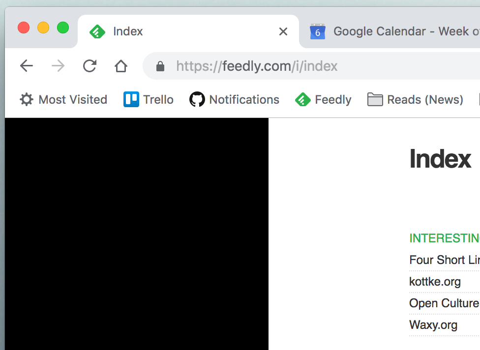 A screenshot of Feedly with a black box where the list of subscriptions should normally be.