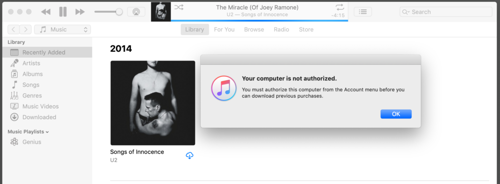 A screenshot of iTunes showing a warning dialog.