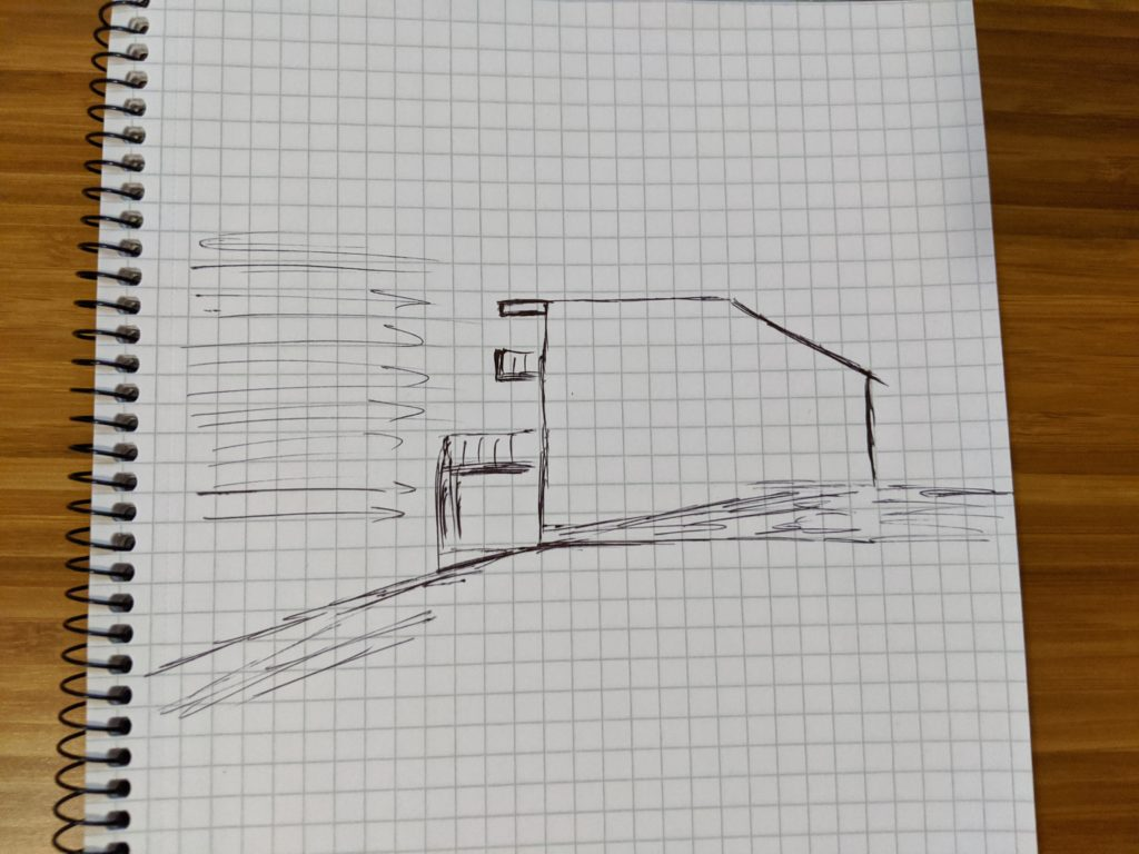 A rough sketch of a house on a hill with arrows representing wind.