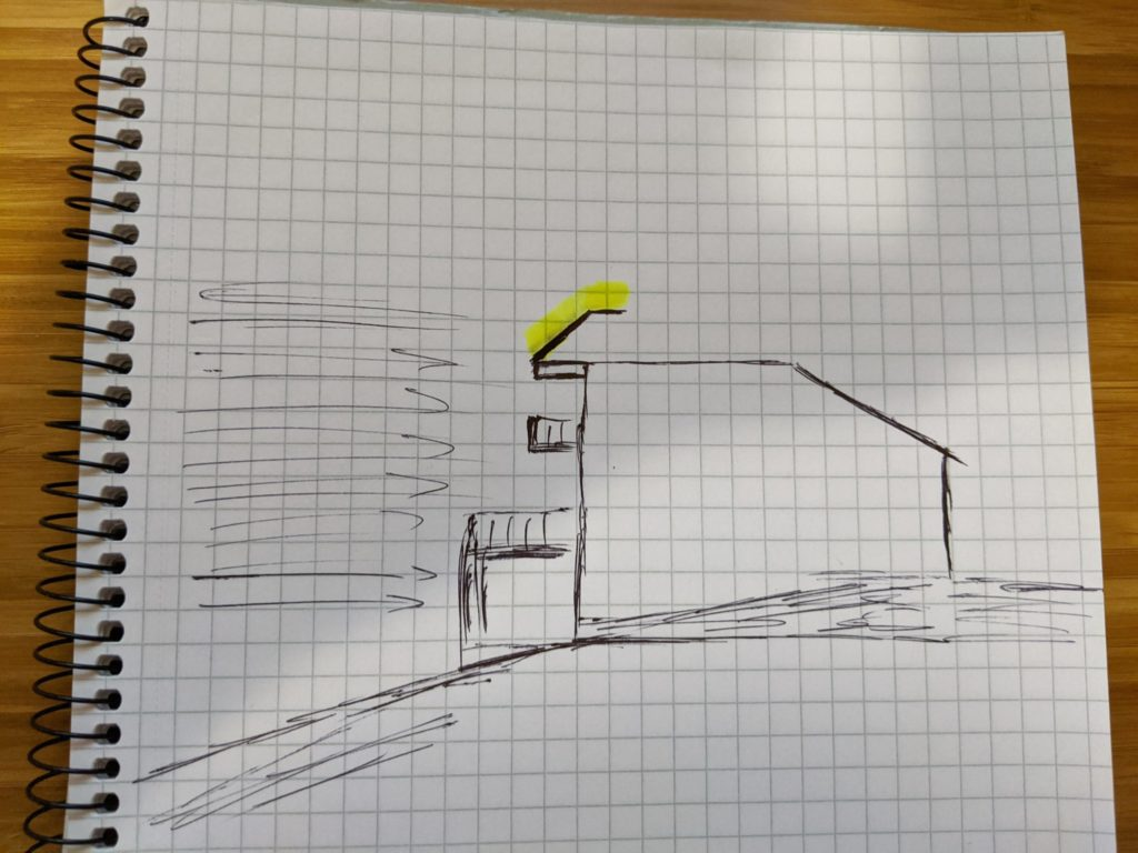 A rough sketch of a house on a hill with a highlighted spoiler of sorts.