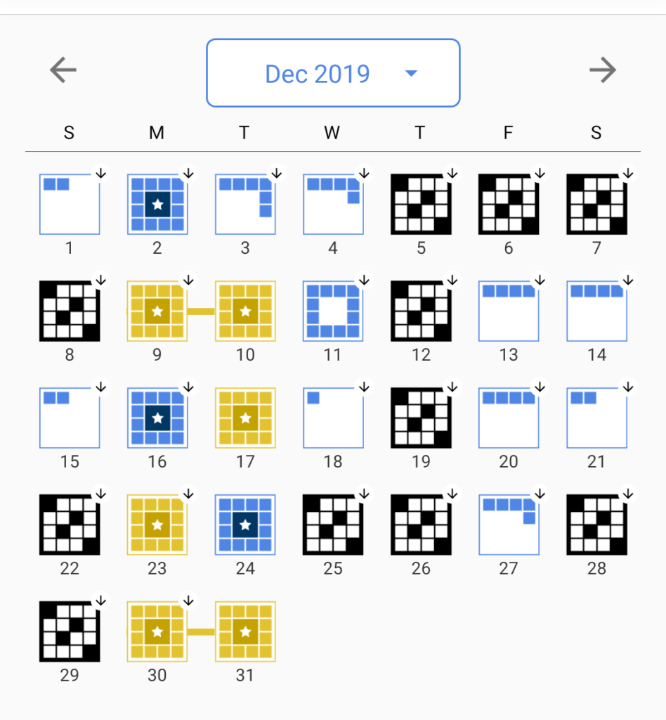 A screenshot showing the status of various crosswords published in December 2019.