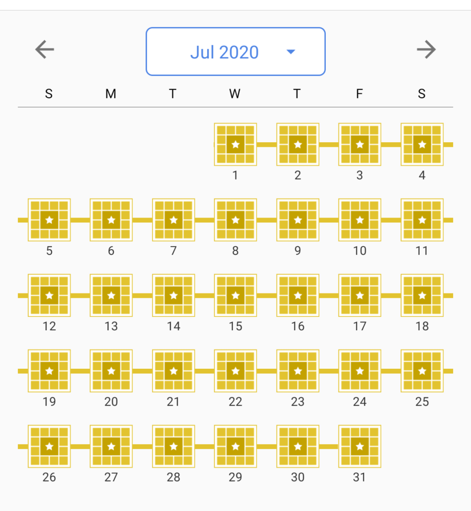 A screenshot of my crossword progress from July 2020.