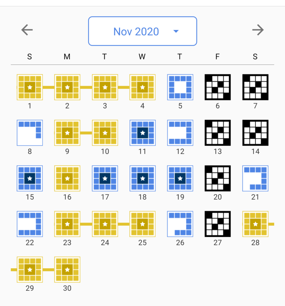 A screenshot of my crossword progress in November 2020.
