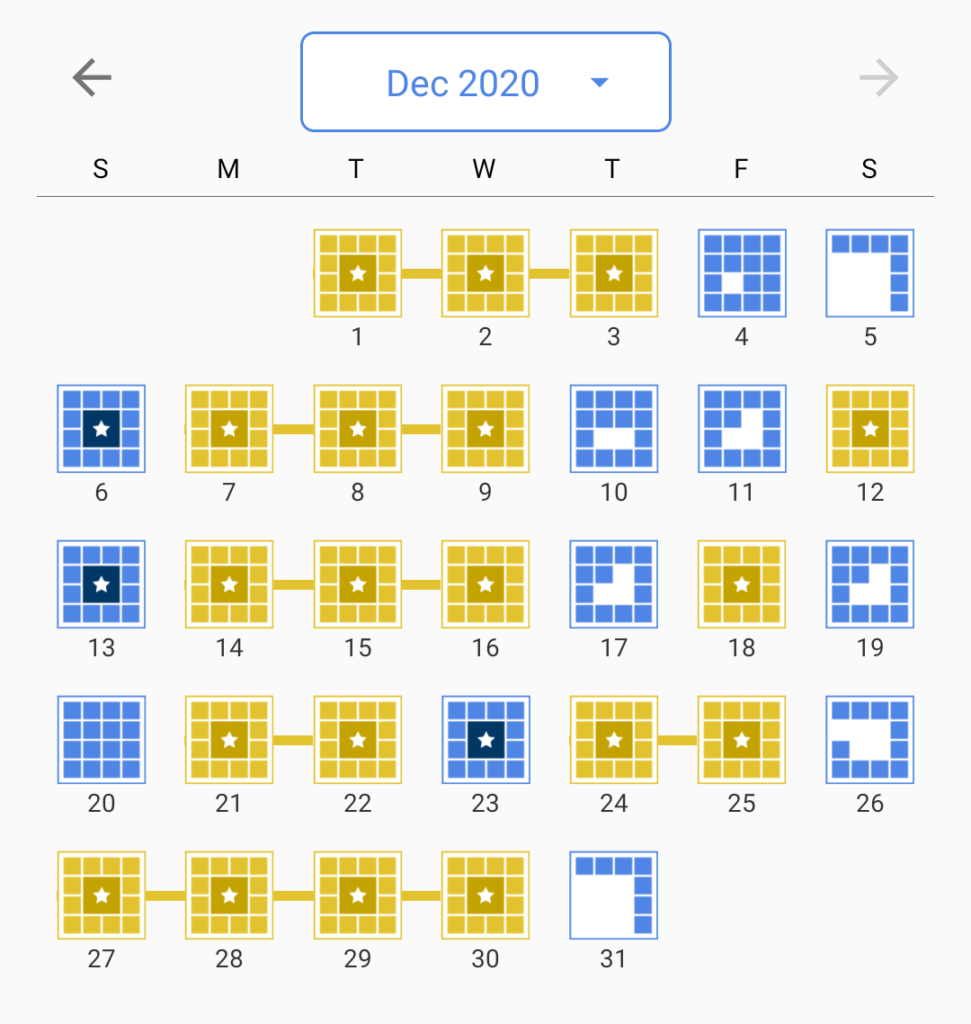 A screenshot of my crossword progress from December 2020.